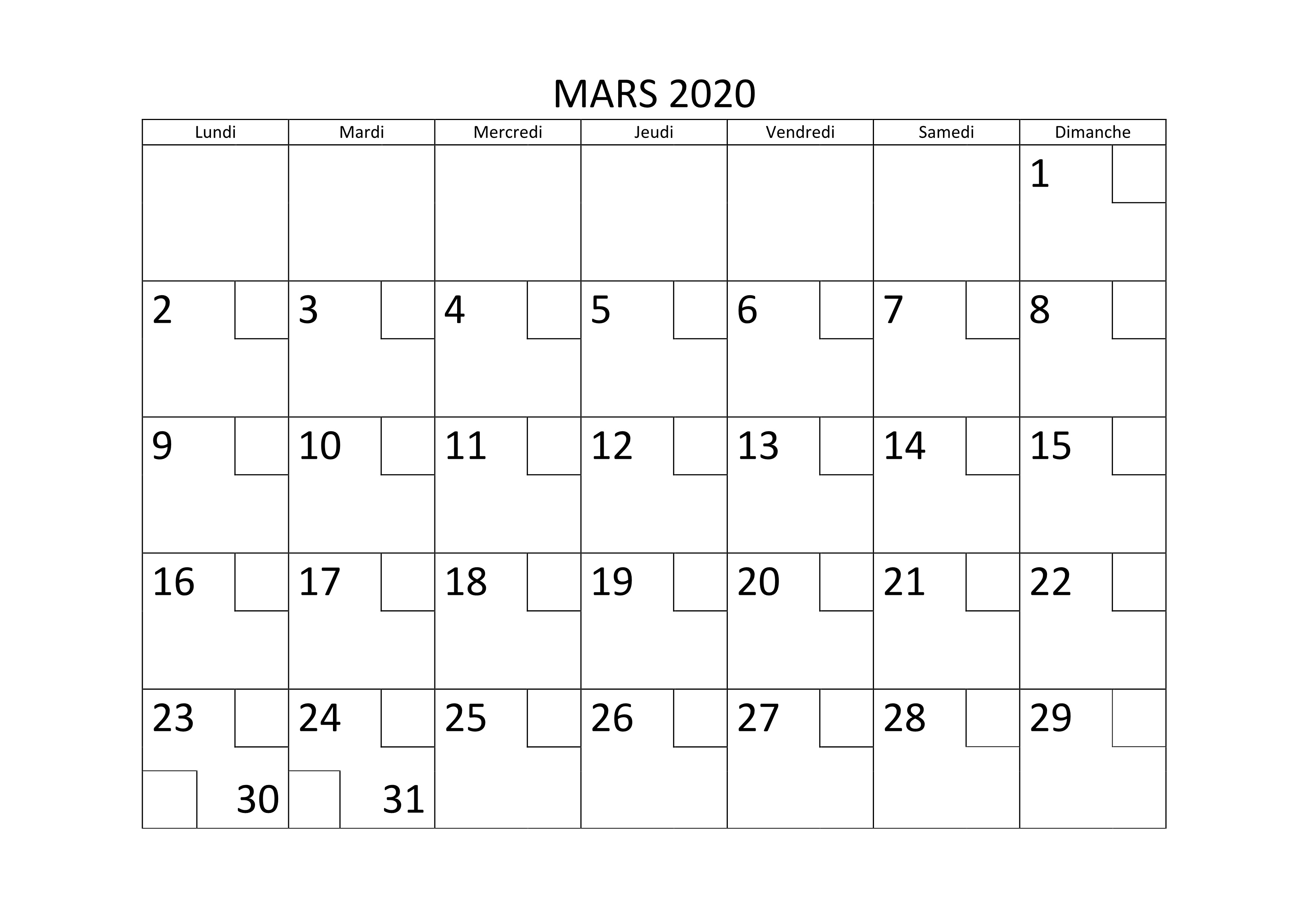 Calendrier Mars 2020.Calendrier 2020 Jours Feries Calendrier 2020