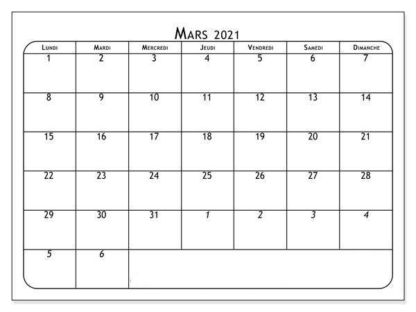 Calendrier Mars 2021 France