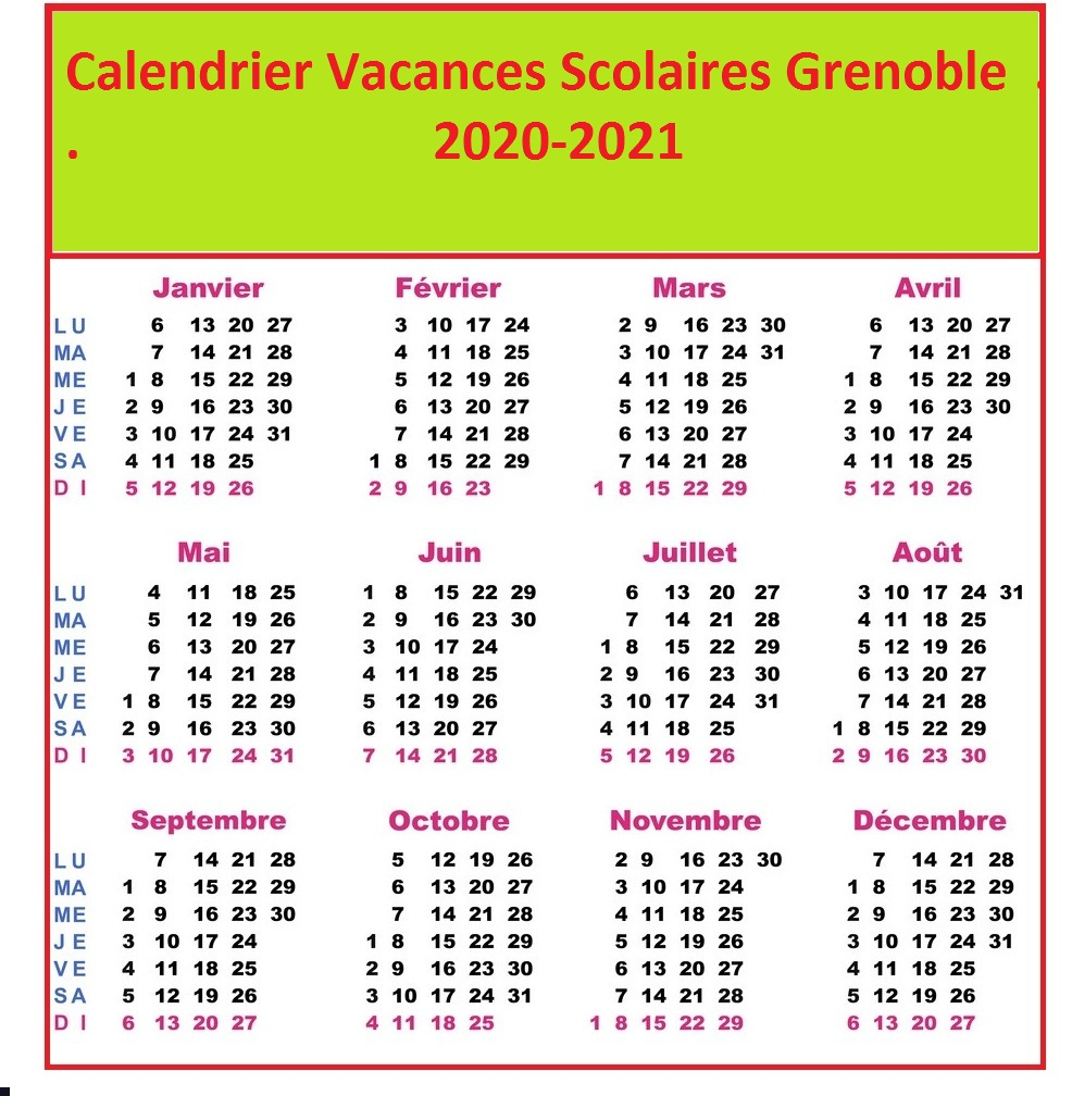 Calendrier Vacances Scolaires 2020 Zone Grenoble