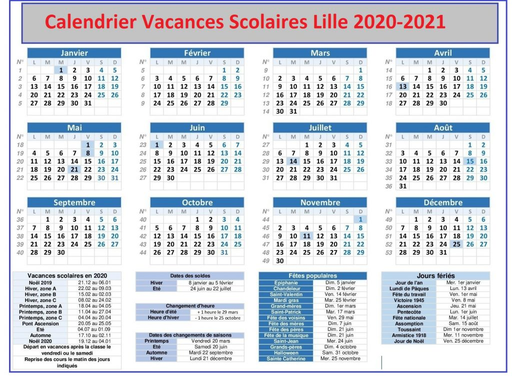 Lille 3 Calendrier 2021 Calendrier Vacances Scolaires Lille 2020 21 Pdf, Excel, Word