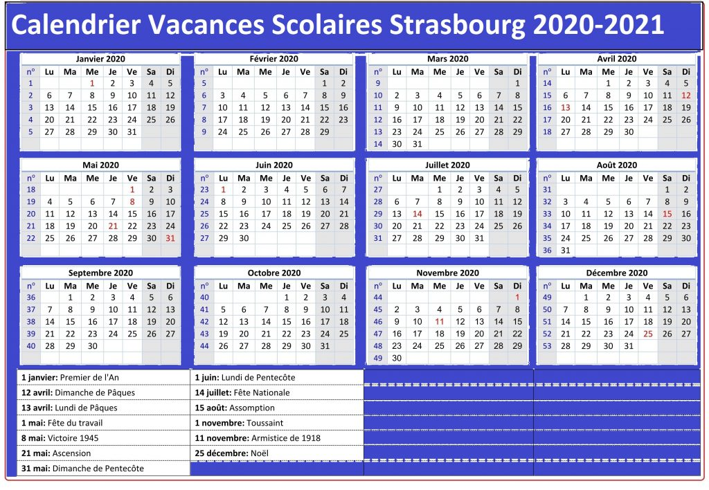 Calendrier Vacances Scolaires 2020 Zone Strasbourg