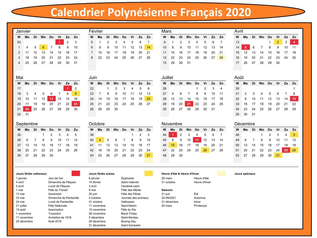 Calendrier Scolaire Polynésie French Bee 2020